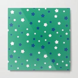 Stars Printed Green Navy Stars Pattern Metal Print