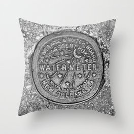New Orleans Water Meter Louisiana Crescent City NOLA Water Board Metalwork Grey Silver Throw Pillow