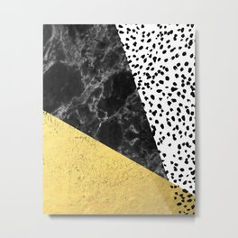 Mele - gold abstract painting art decor dorm college trendy hipster foil glitter black and white dot Metal Print