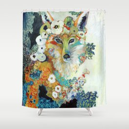 Fox in Pearls Shower Curtain