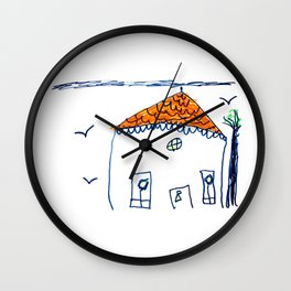 Child drawing house Wall Clock
