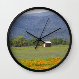 Little House in a Prairie of Wildflowers Wall Clock