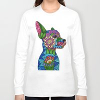 folk Long Sleeve T-shirts featuring Folk Art Puppy by ArtLovePassion
