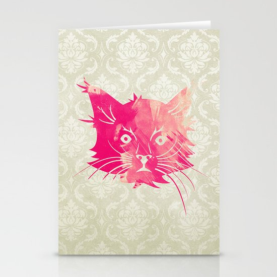 Pink Watercolor Cat Vector Vintage Floral Damask Stationery Cards