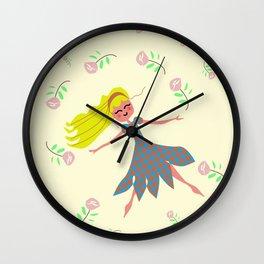 little girl dancing in the garden Wall Clock