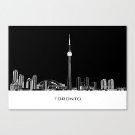Toronto Skyline - White ground / Black Background Canvas Print