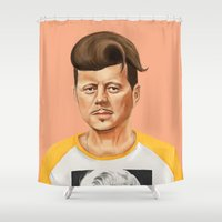 jfk Shower Curtains featuring Hipstory -  John F Kennedyn by Amit Shimoni