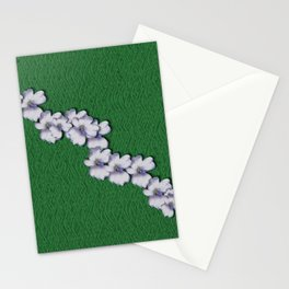 Cherry-blossoms Branch Decorative On A Field Of Fern Stationery Cards