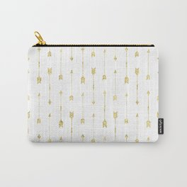 White And Gold Glitter Arrow Pattern Carry-All Pouch