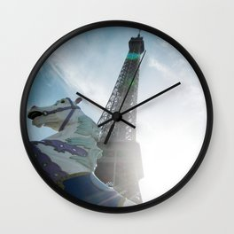 Paris Eiffel Towel Carrousel Wall Clock
