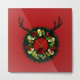 Wreath Reindeer Metal Print