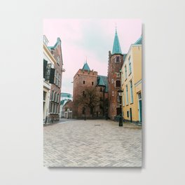 Yellow pastel colored old building | Utrecht City | fine art photography Metal Print