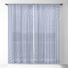 Minimal Line Curvature - Blue Sheer Curtain