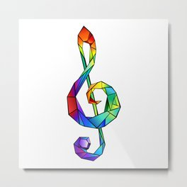 Rainbow Treble clef ( Musical Key ) Metal Print