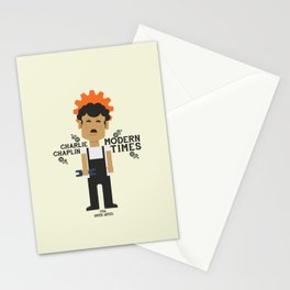 Modern Times, Charlie Chaplin, minimal movie poster, classic film, Charlot playbill Stationery Cards