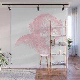 Vintage Illustration, A Monkey, Bubblegum Pink Wall Mural