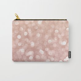 Rosegold Glitter Bokeh Glam Pattern Carry-All Pouch