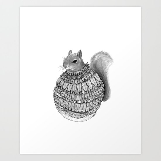 The Squirrel-Feathered Art Print