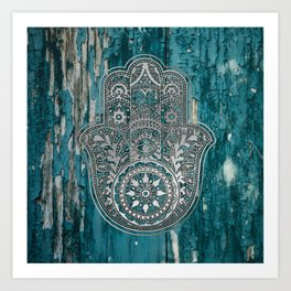 Silver Hamsa Hand On Turquoise Wood Art Print