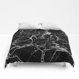 Black Marble with White Veining Comforters