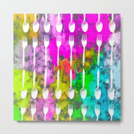 fork and spoon pattern with colorful painting abstract background Metal Print