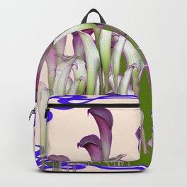 ART NOUVEAU  MAROON CALLA LILIES PURPLE DESIGN Backpack