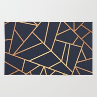 copper Area & Throw Rugs featuring Copper and Midnight Navy by Elisabeth Fredriksson
