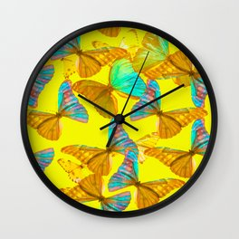 Butterflies - turquoise wings - yellow background #Society6 #buyart Wall Clock