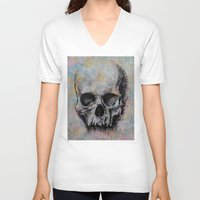 medieval V-neck T-shirts featuring Medieval Skull by Michael Creese