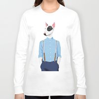 bull terrier Long Sleeve T-shirts featuring Skinhead Bull Terrier by drawgood