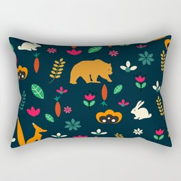 Cute little animals among flowers Rectangular Pillow