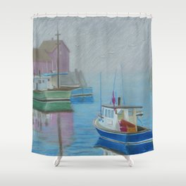 A Foggy Day at Inner Harbor Shower Curtain