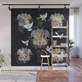 masters on black with doves Wall Mural