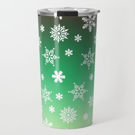 Snow Flurries-Green/Cream Ombre Travel Mug