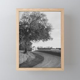 Curved gravel road leading towards Best Farm in Maryland Framed Mini Art Print