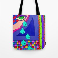 blankets Tote Bags featuring Abstract 34 by Linda Tomei