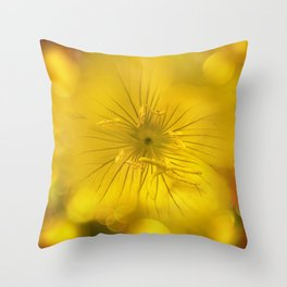 Yellow Bokeh Flower Throw Pillow