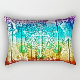 The Flower of Life & Metatron's Cube - The Rainbow Tribe Collection Rectangular Pillow