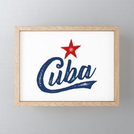 CUBA HAND DRAWN STAMPED USED LOOK VINTAGE Framed Mini Art Print