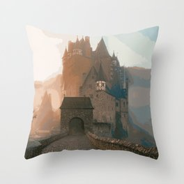 Castle In The Mist (Painting) Throw Pillow