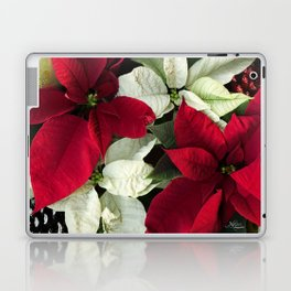 Red and White Christmas Poinsettias, Scanography Laptop & iPad Skin