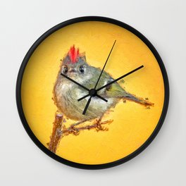 Ruby crowned kinglet caricature painting Wall Clock