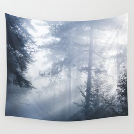 Sun rays shinning through foggy forest Wall Tapestry