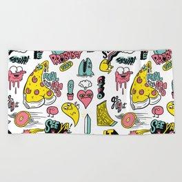 Weirdo Pizza Donut Sword Skull Pattern Beach Towel