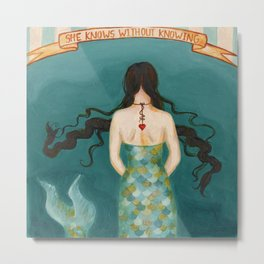Mermaid Girl in the Midway, or She Knows Without Knowing Metal Print