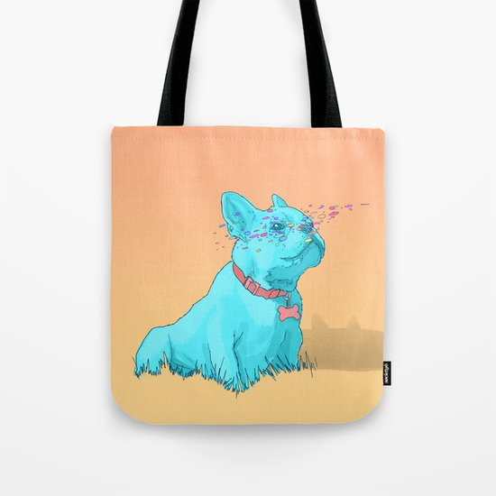 Psychedelic French Bulldog Tote Bag