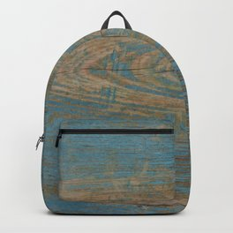 Weathered Rustic Western Country Farmhouse Grey Blue Woodgrain Backpack