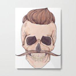 Skull Mustache Metal Print
