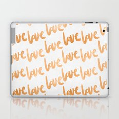 Valentines Day Copper Bronze Gold Love Word Typography Pattern Laptop & iPad Skin