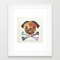 pug Framed Art Prints featuring pug by Manoou